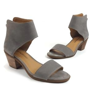 Lucky Brand Barbina Driftwood Gray Leather Sandals